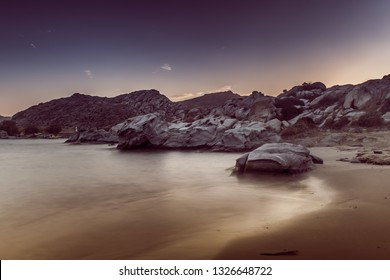 Rock formations of Kolymbithres beach at Paros island in Greece.