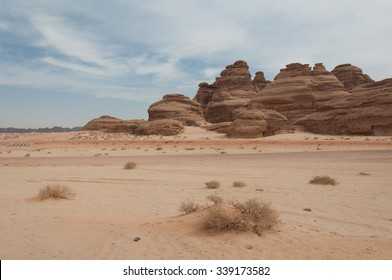 Rock formations near Al-Ula in the deserts of Saudi Arabia.