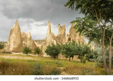 Rock formations near Goreme, in Kapadokya