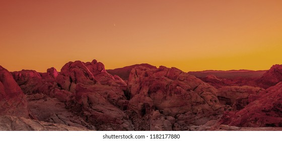 Rock formations in the Nevada desert at Valley of Fire State Park, USA. Valley of Fire State Park is the oldest state park in Nevada, USA and was designated as a National Natural Landmark in 1968.