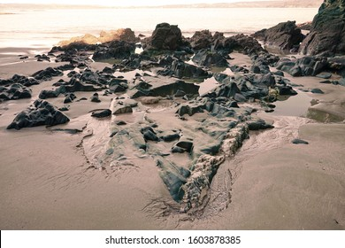 Rock formations on the beach of Fontán (Sada) Sada (Coruna), Galicia, Spain 29/12/2019