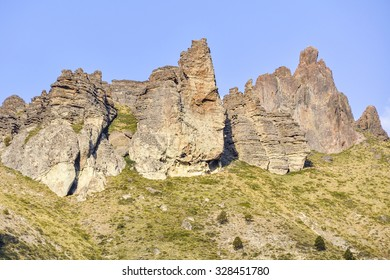 Rock formations on the Road of the Seven Lakes, Patagonia, Argentina