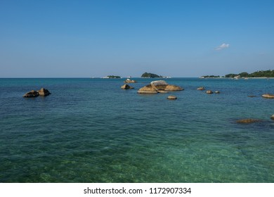 Rock formations on the seafront of Belitung Island, Indonesia