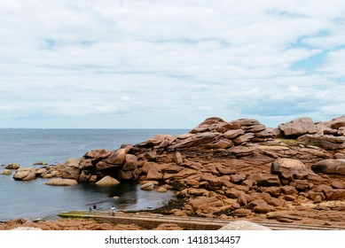Rock formations in Pink Granite Coast around Perros-Guirec in Brittany, France