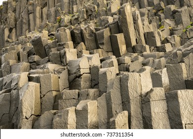 Rock formations at Reynisfjara Beach in Iceland.