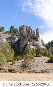 Rock formations in Rio Lobos canyon, Soria, Castile and Leon, Spain. Cañon del Río Lobos