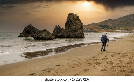 Rock formations at Rodeo Beach, California, USA, San Francisco Marine Headlands Recreation Area, beautiful landscape, California seaside.