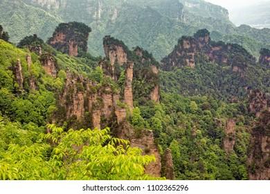 Rock formations in the Tianzi Mountains, part of the Zhangjiajie National Forest Park, Hunan China