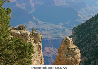 Rock formations and vegetation of the majestic Grand Canyon National Park