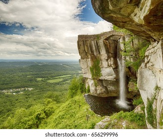 Rock formations with a waterfall at Lookout Mountain, a mountain ridge located at the northwest corner of the U.S. state of Georgia, along the Tennessee state line in Chattanooga,
