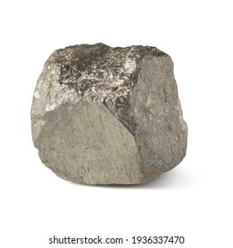 rock fragment of pyrite, isolated on white background