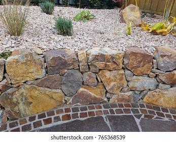 Rock garden, dry stone wall