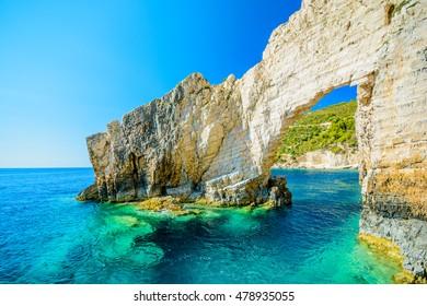 rock gate in blue caves Greece, south of the island of Zakynthos, Keri area