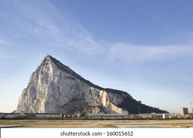 the rock of gibraltar in the early morning
