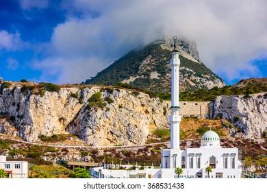 Rock of Gibraltar and Ibrahim-al-Ibrahim Mosque.