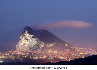 Rock of Gibraltar at night