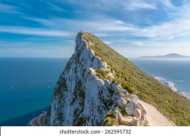 The rock of Gibraltar and Strait of Gibraltar