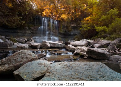 Rock Glen Falls at Rock Glen Conservation Area in Arkona, Ontario, Canada at sunset.