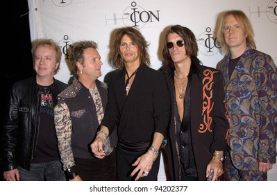 Rock group AEROSMITH with lead singer STEVE TYLER at the mtvICON gala honoring Aerosmith, at Sony Studios, Los Angeles. 14APR2002.