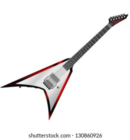 Rock Guitar with fire lines on body isolated on white background