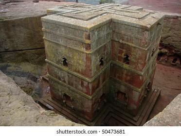Rock hewn church of Bet Giyorgis at Lalibela in Ethiopia