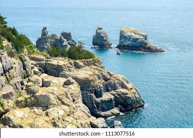 Rock Isles near Oedo Botania Garden Island in Hallyeo Haesang National Marine Park located at Geoje city, Gyeongsangnam , South Korea