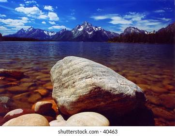 Rock at Jackson Lake, Wyoming