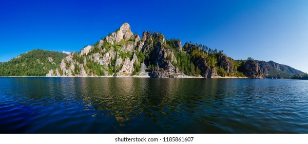 Rock landscape, the coast of a reservoir on the Yenisei River in Siberia, national park