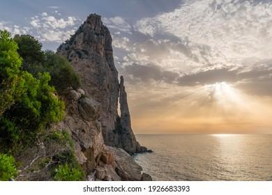 "Rock limestone pinnacle called ""Pedra Longa"" in the Orosei gulf near Santa Maria Navarrese, small sea village in Ogliastra (Sardinia, Italy)"