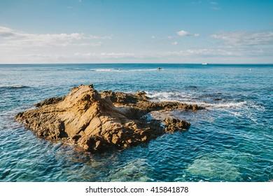 Rock in the Mediterranean Sea in Spain