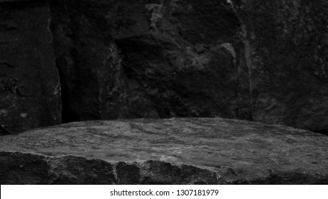 A Rock Mineral Product Display Shelf, Showing a Rough Texture to the Platform with a Blurred Ancient Stone Background. - Shutterstock ID 1307181979