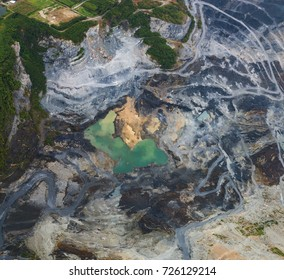 Rock mining from bird eyes view