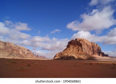 Rock mountain in a orange desert