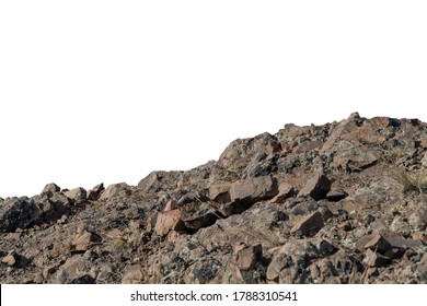 Rock mountain slope foreground close-up isolated on white background. Element for matte painting, copy space. - Shutterstock ID 1788310541