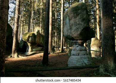 Rock Mushrooms, Skalne Grzyby famous rock formation in the Table Mountains ( Gory Stolowe ), National Park, popular tourist attraction, Poland.