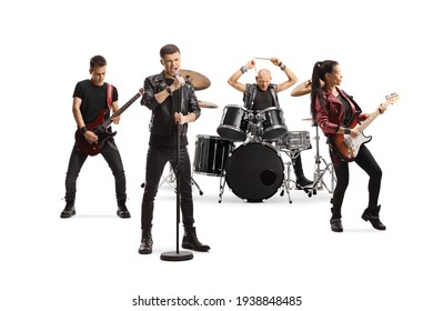 Rock music band performing with female guitarist, drummer and a male singer isolated on white background - Shutterstock ID 1938848485