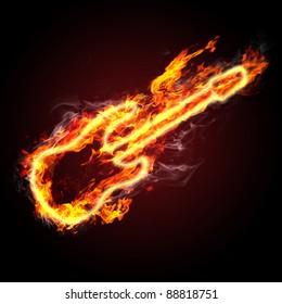rock music. fiery guitar against black background