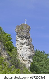 rock needle in Oberndorf in the Danube valley a looker for all users of the famous Danube cycle path