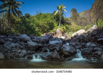 Rock Needle with waterfall in foreground in Iao Valley - Maui - Hawaii