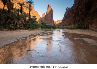 Rock and oasis scenes in Wadi Disah in Tabuk Region, Saudi Arabia