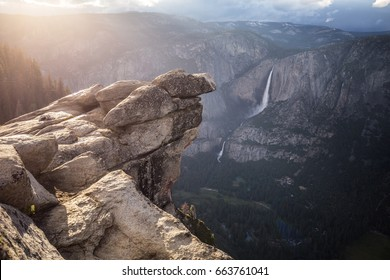 Rock on a cliff edge. Yosemite National Park. California. USA.
