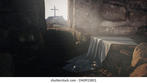 Rock opening into Jesus Christ tomb