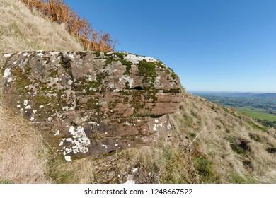 Rock outcrop on Ysgyryd Fawr (Skirrid Fawr), Abergavenny, Monmouthshire, Wales