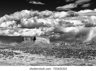 Rock Outcrop and Stormy Sky, Natrona County, a