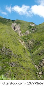 Rock outcropping on the side of a mountain above the Devil's Nose Railroad near Alausi, Ecuador