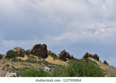 Rock outcrops at Devil's Backbone Open Space, Colorado, taken from east side