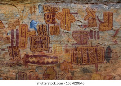 "Rock painting in the region of Peruacu River Valley (in Portuguese: ""Vale do rio Peruaçu"" - State of Minas Gerais - Southeast Brazil. The picture is made most of enigmatic drawings."