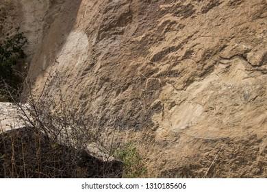 Rock paintings of ancient people in Gobustan in Azerbaijan