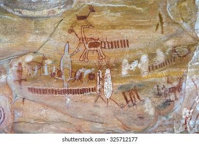 Rock paintings on an archeological site at Serra da Capivara National Park, Brazil