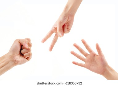 Rock paper scissors hands isolated with clipping mask.